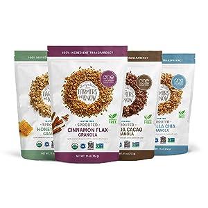 One Degree Organic Foods Gluten Free Granola Variety Pack - Cinnamon Flax, Vanilla Chia, Quinoa Cacao, and Honey Hemp - USDA Organic (4 Pack)