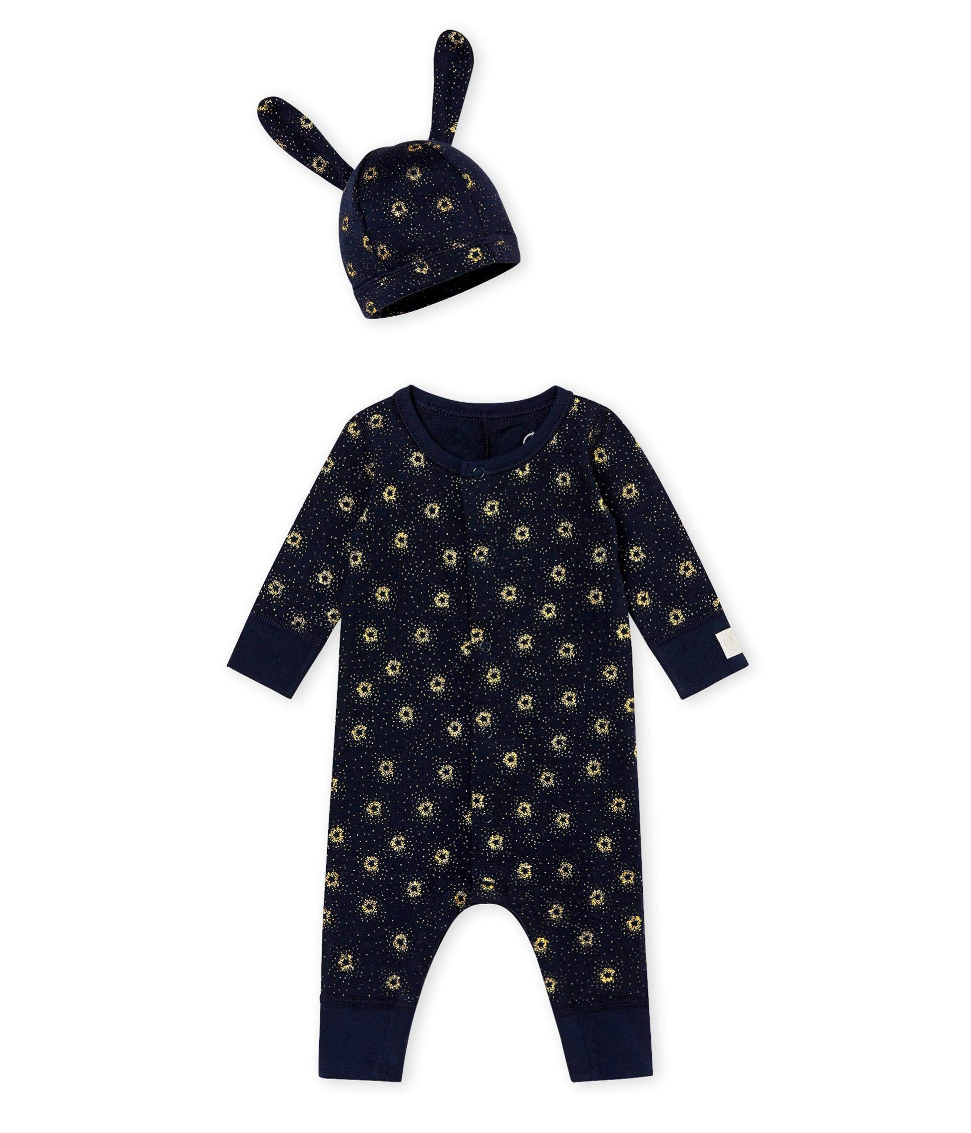 Baby Layette Set Navy Metallic Gold Print Unisex by Petit Bateau