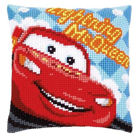 Amazon.com: Disney s Cars Rayo McQueen cojín de punto de ...