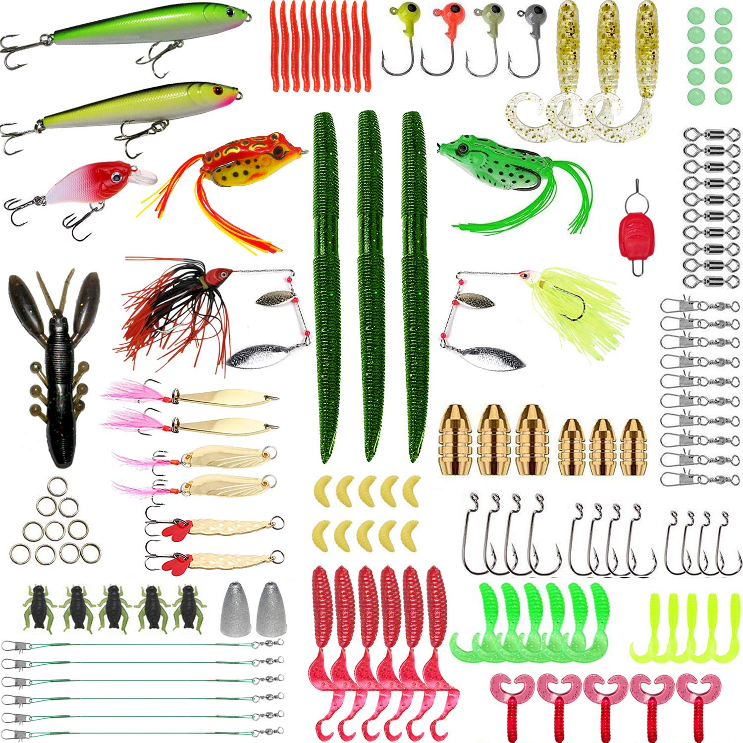 SHXH 137 Pcs Fishing Lures Kit,Top-Water Lures Tackle Box,Baits Tackle Including Crank-baits Spinner-baits Plastic Worms Jigs and More Fishing Gear by SHXH