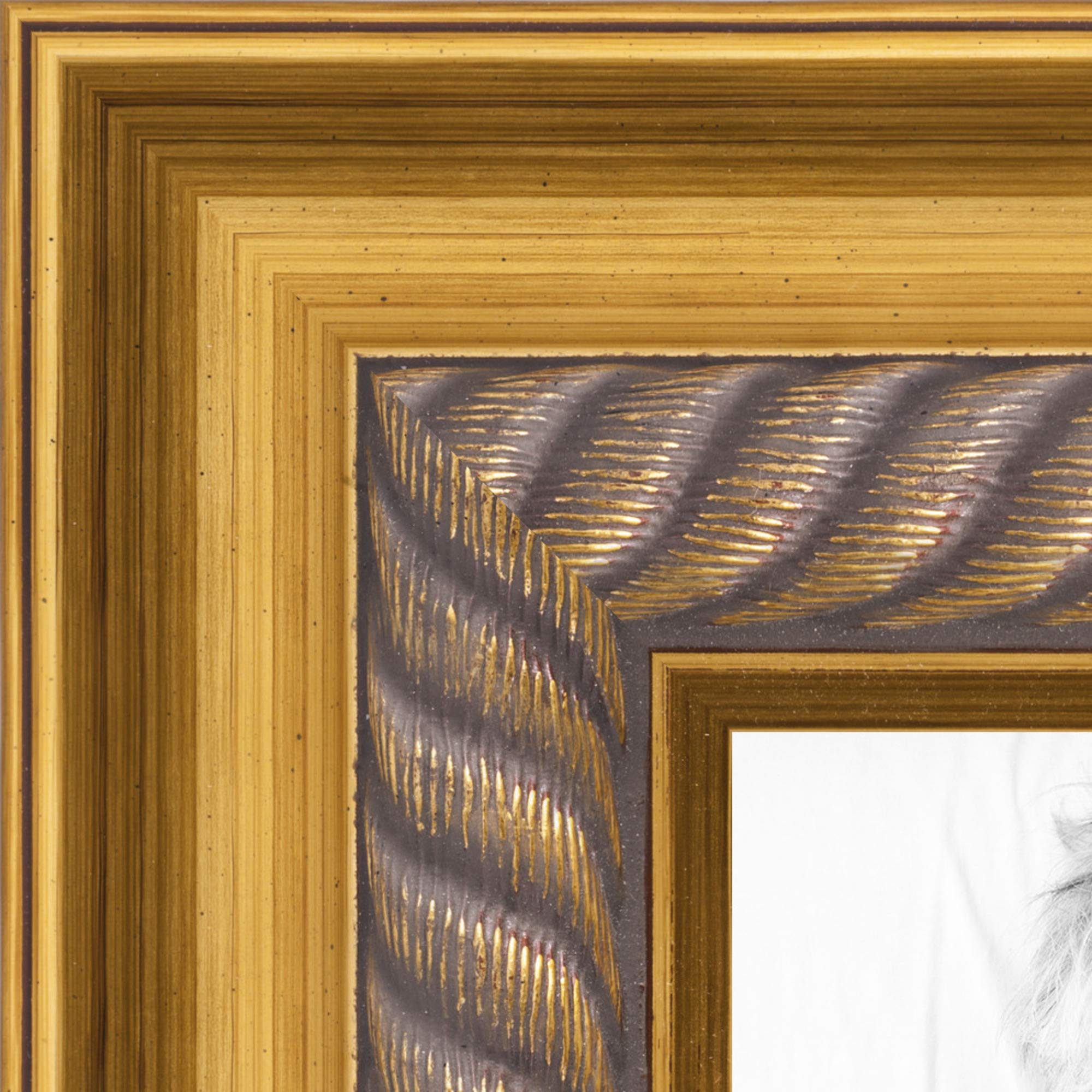 ArtToFrames 12x15 inch Gold Slope with Rope Wood Picture Frame, 2WOMCPB-01105-12x15