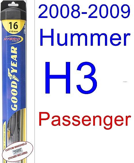 Hummer H3 X - Juego de escobillas de repuesto para limpiaparabrisas (limpiaparabrisas Goodyear híbrido)