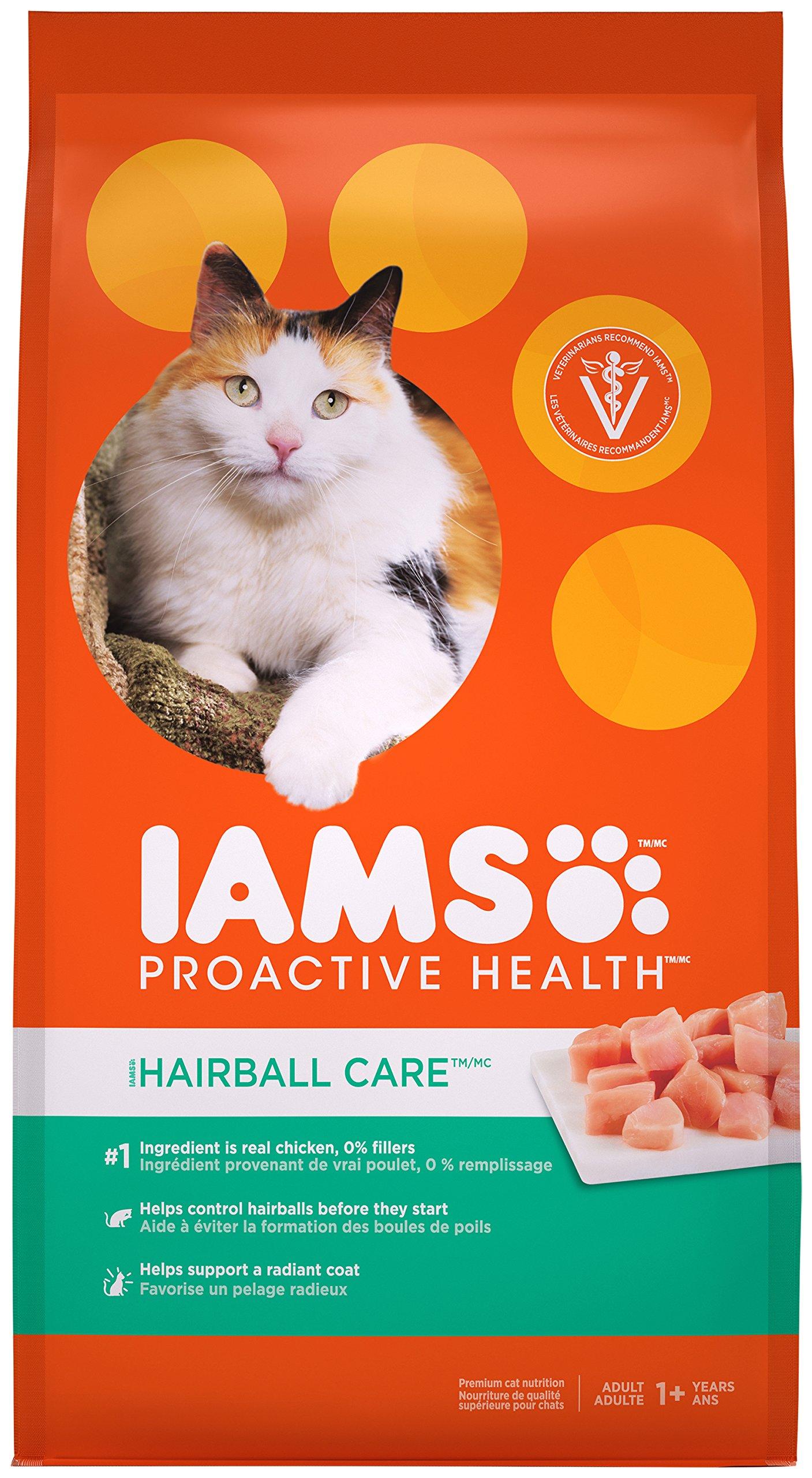 Iams PROACTIVE HEALTH Adult Hairball Care Dry Cat Food Chicken Salmon, 7 lb. Bag