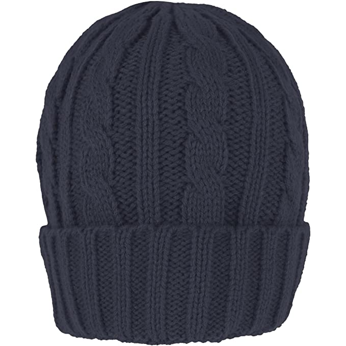 bb1778b05d1 TeddyT s Men s Cable Knit Chunky Thermal Beanie Hat (Navy Blue ...