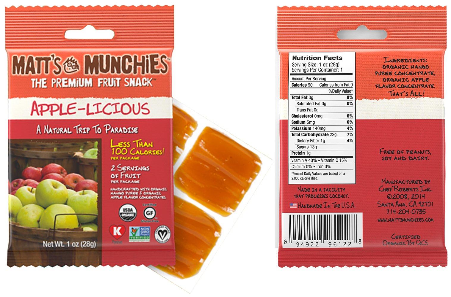 Matt's Munchies Tropical Assortment Organic Non-GMO Fruit Leather Peelable Fruit Snacks 25 Count Variety Pack Caddy - Mango, Island Mango, Tropical Punch, Banana Coconut & Apple by Matt's Munchies (Image #2)