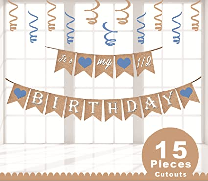 FESTIKO Its My Half Birthday Banner For Boy 6 Months Old Glitter 1 2 Six Month Decorations