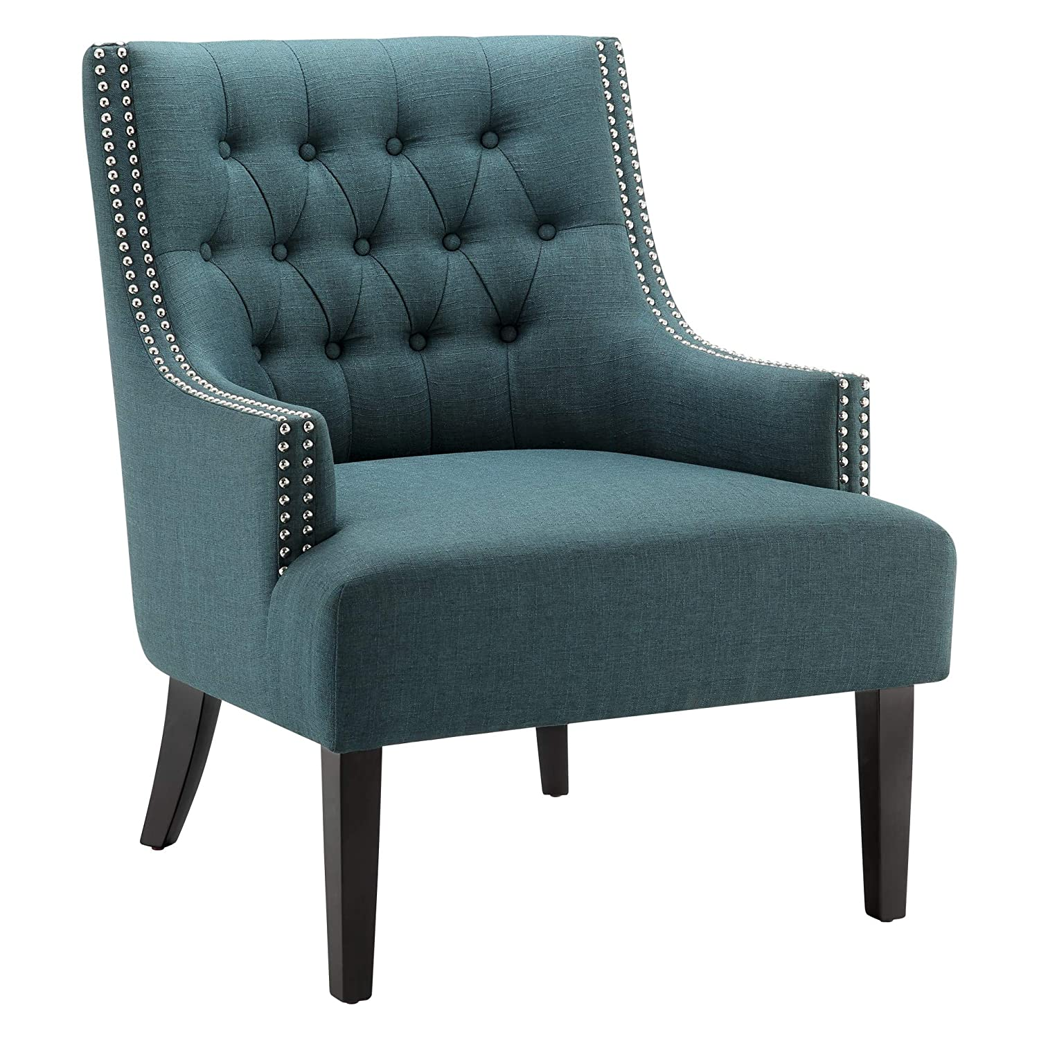 Ball Cast Tufted Fabric Accent Chair, Indigo