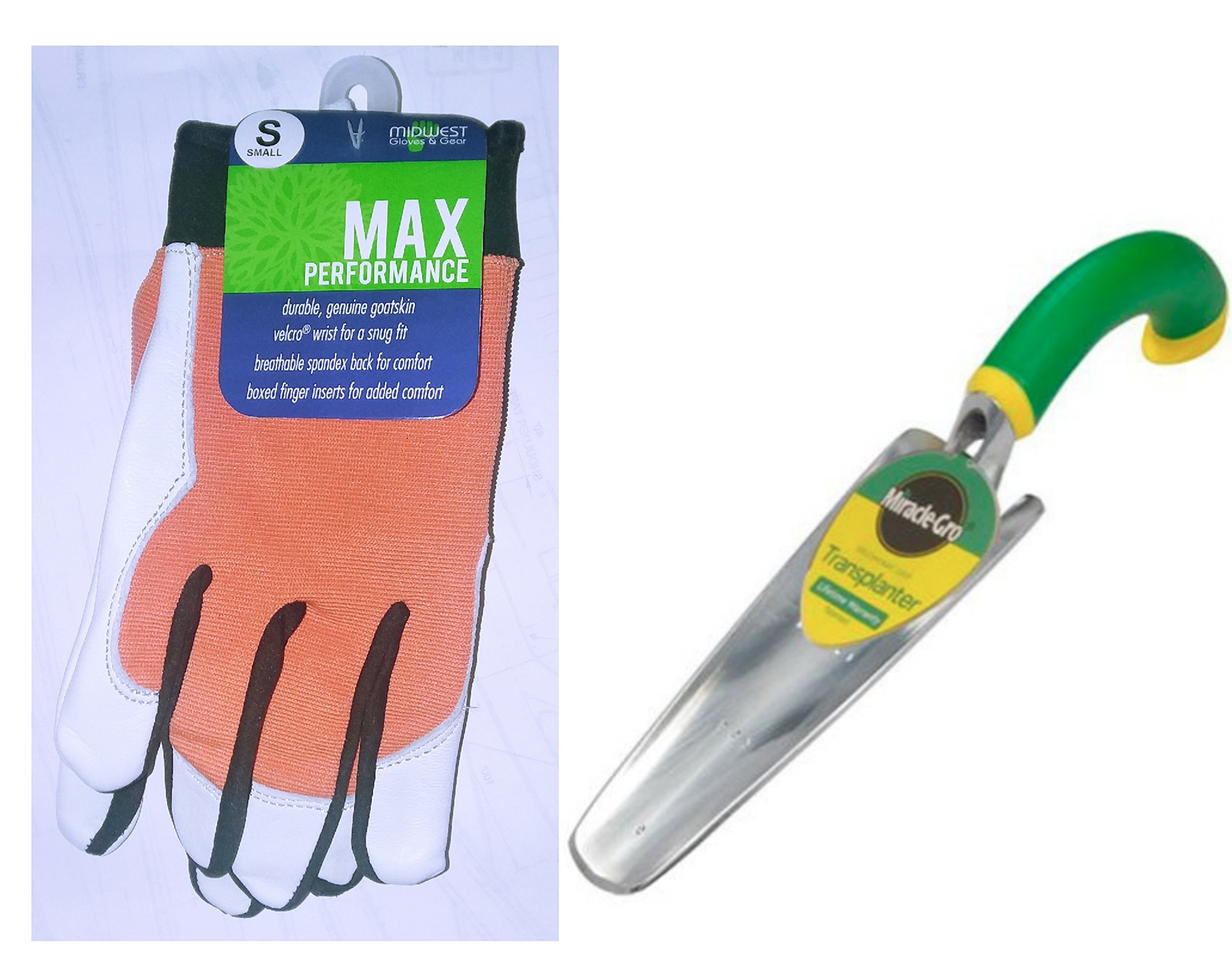 Gift for Mom Gardening Bundle: Goatskin/Spandex Leather Palm Glove with Boxed Fingers -Size SMALL and Miracle-Gro 101-MG Ergonomic Aluminum Transplanter