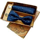 Blacksmith Blue Dots Tie, Bowtie, Cufflink, Pocket Square Set for Men