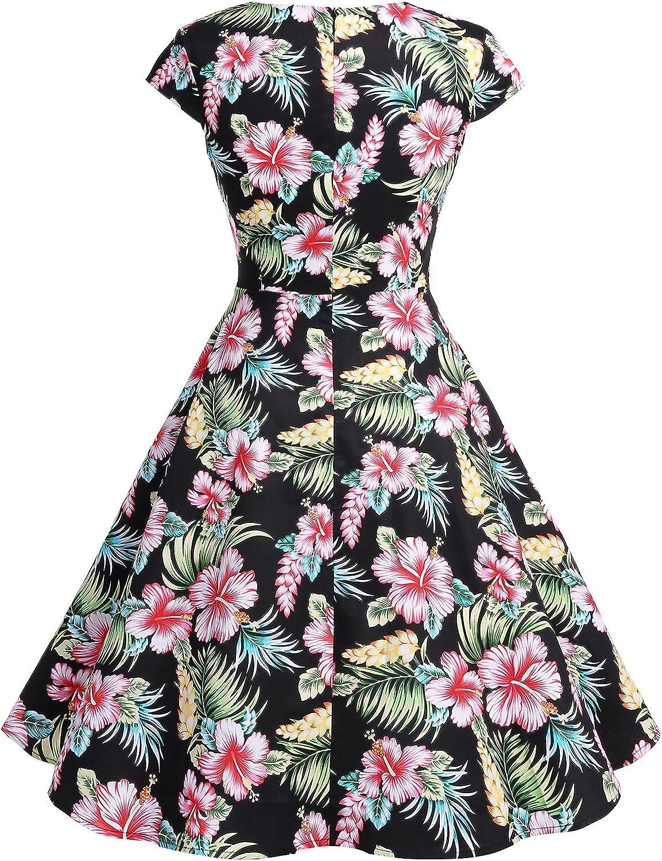 Bbonlinedress Womens Vintage 1950s cap Sleeve Rockabilly Cocktail Dress Multi-Colored