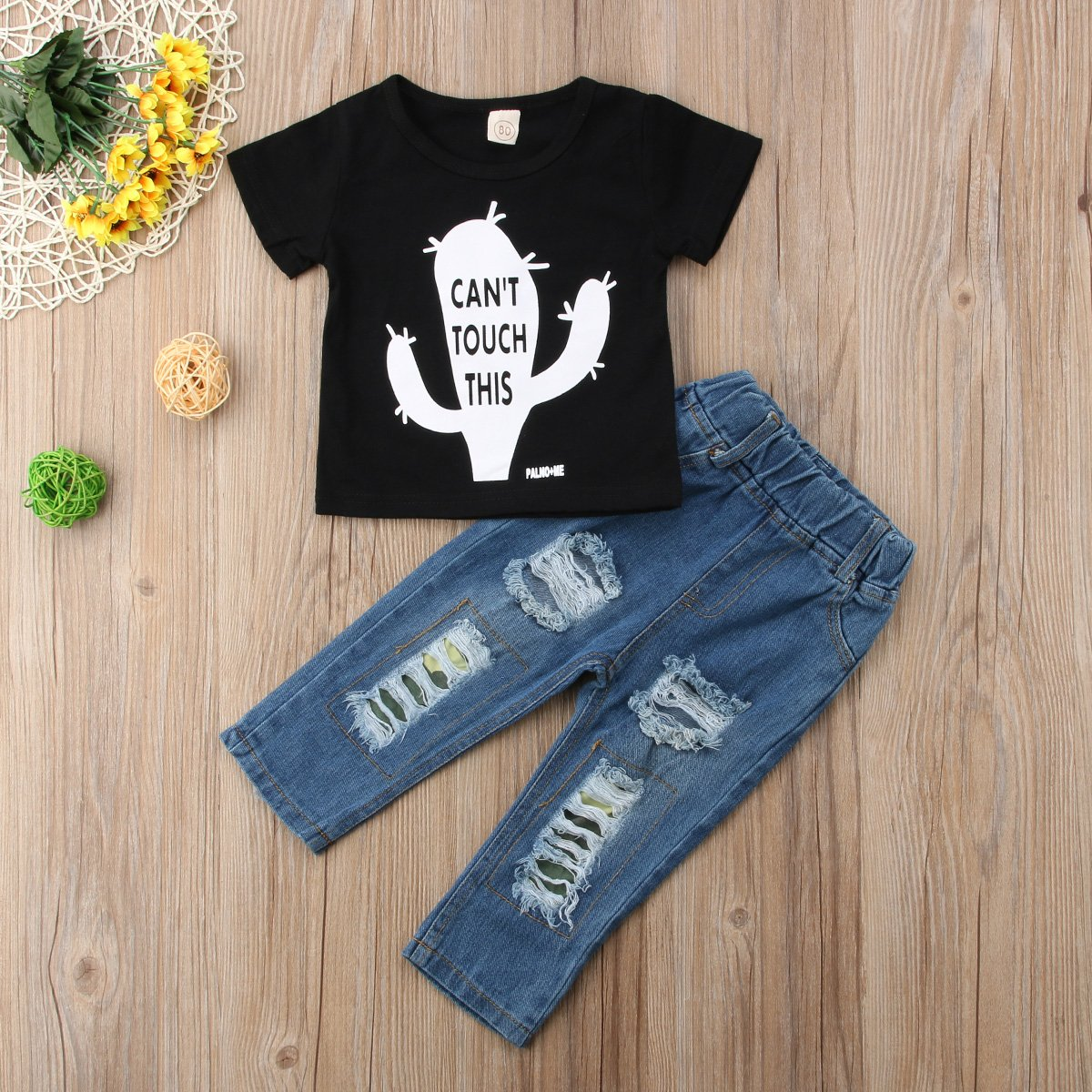 Ripped Denim Long Pants Jeans Trousers 2Pcs//Set Listogether Toddler Kids Boys Short Sleeve Cotton T-Shirt Tops