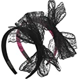 Hicarer 2 Pieces 80's Party Lace Bow Headband Hair Band 80s Costumes for Women, 2 Color