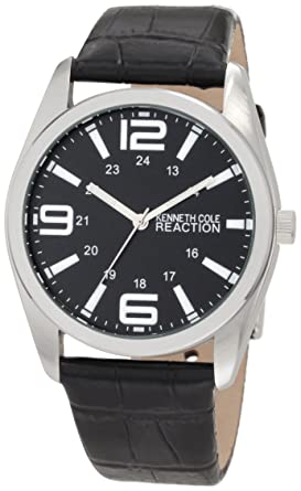 Kenneth Cole REACTION Mens RK5106 HOLIDAY-Box Set Analog Black Strap Extra Brown Strap Watch