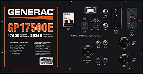 Generac 5735 GP17500E 17500 Running Watts 26250 Starting Watts Electric Start Gas Powered Portable Generator