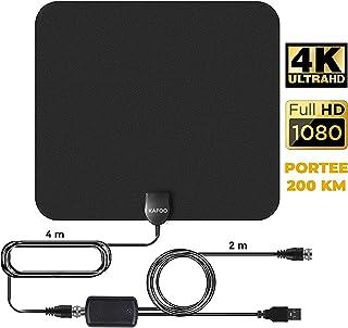 KafooStore Antenne TV Intérieur Puissante, Performante pour Reception TNT Difficile, Amplificateur Booster Signal 200 Km, Chaînes Locales Gratuites 1080P 4K, Câble Coaxial 4m VHF UHF FM