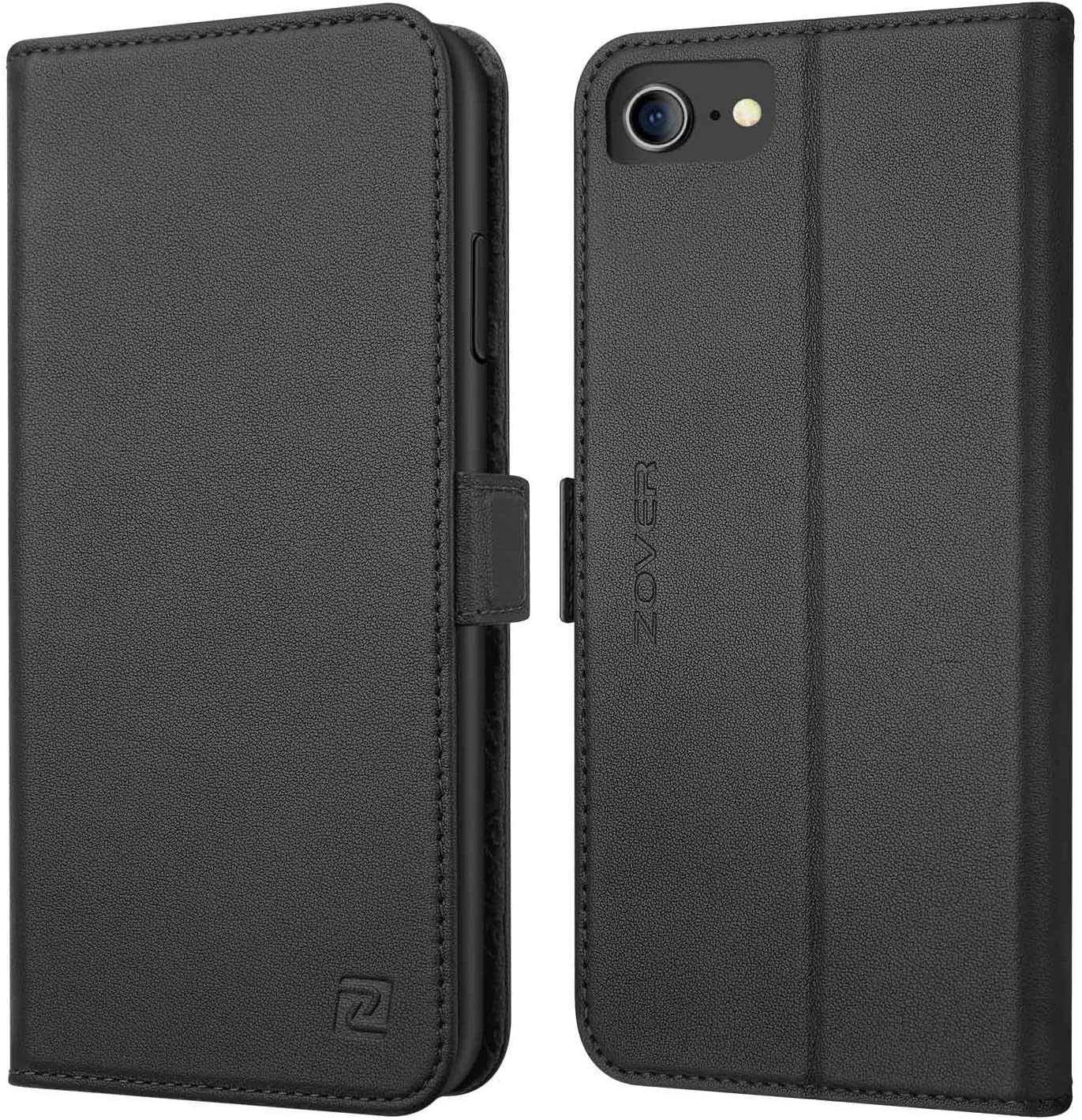 iPhone 8 case iPhone 7 case ZOVER Genuine Leather Case Flip Folio Book Case Wallet Cover with Kickstand Feature Card Slots & ID Holder and Magnetic Closure for iPhone 7 and iPhone 8 Black