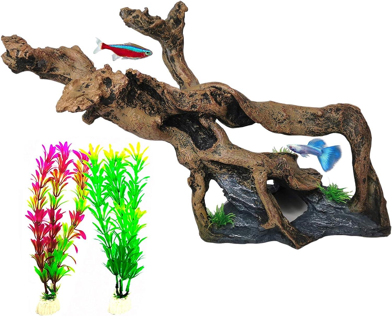 Hamiledyi Resin Wood Driftwood Aquarium Decoration Fish Tank Wood Ornament with Tree Branch Trunk Holes for Fish Shrimp Lizard Gecko Reptile Climb Play