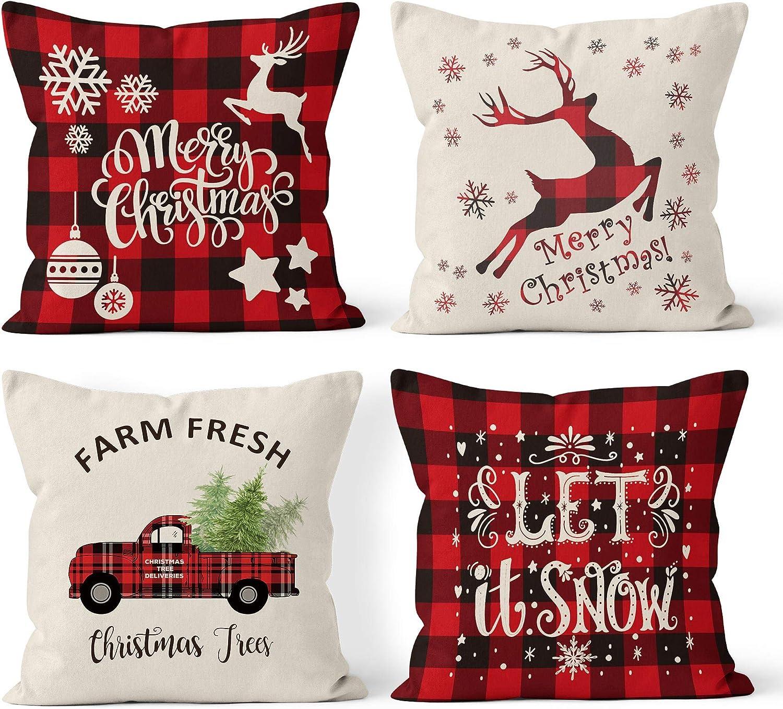 Bieyaaso Christmas Pillow Covers 18x18 Set of 4 for Home Decor. Christmas Buffalo Plaid Retro Truck Throw Pillow Cases CushionDecor Winter Holiday Christmas Farmhouse Decor Pillows Throw Pillow Covers