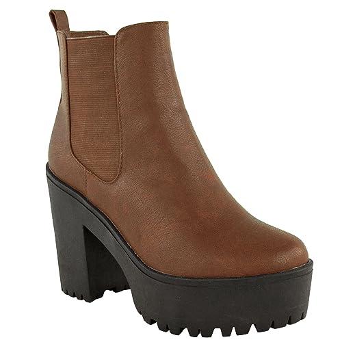 Mujer Grueso Suela Dentada Plataforma Tacón Alto Botines Talla - Marrón Piel Sintética, 40,5 EU: Amazon.es: Zapatos y complementos