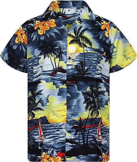 Original King Kameha | Funky Camisa Hawaiana Señores | XS-12XL | Manga Corta Bolsillo Delantero | Impresión de Hawaii | New Surf | difernetes Colores: Amazon.es: Ropa y accesorios