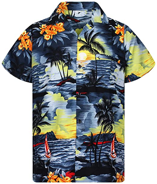 c2582a744eff V.H.O. Funky Hawaiian Shirt for Men Shortsleeve Front-Pocket Casual Button  Down Surf