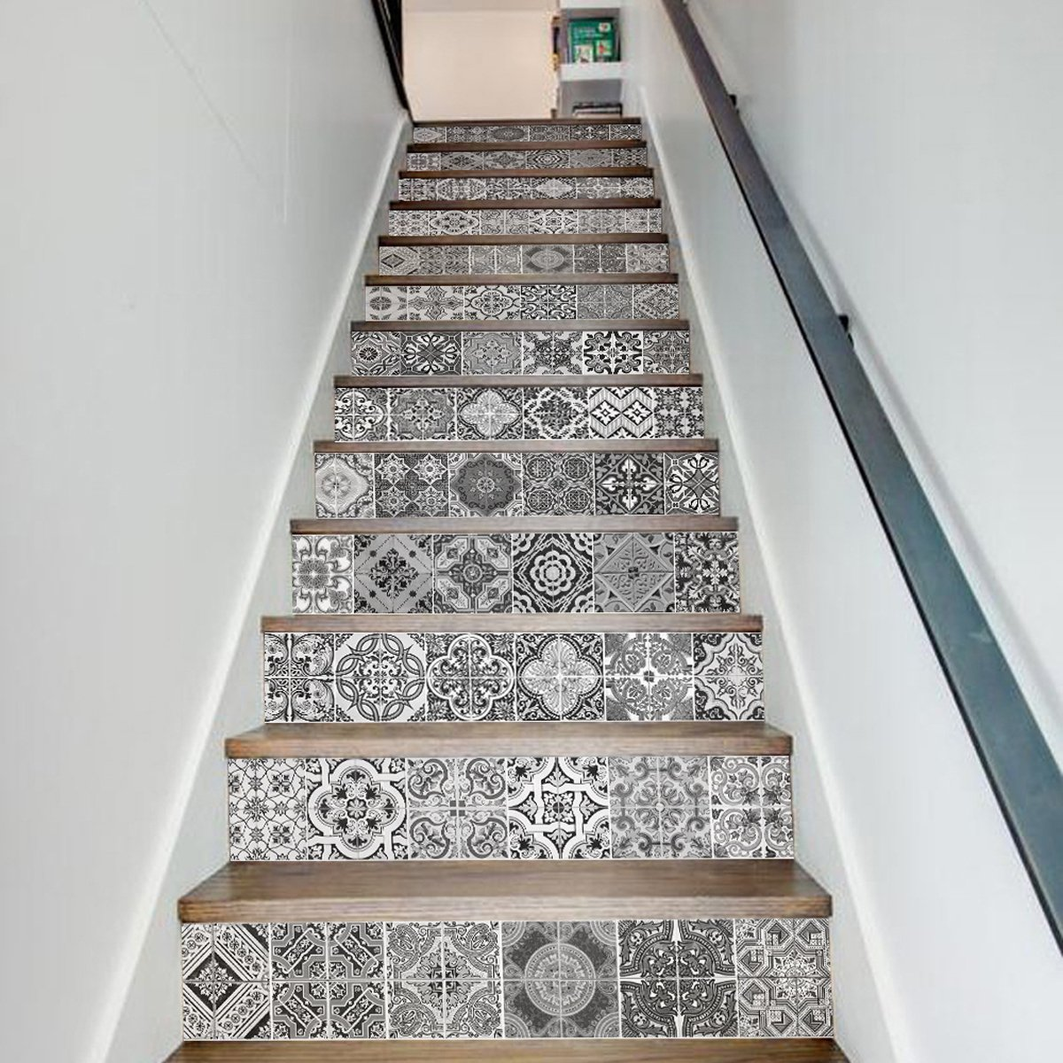 Mandala Decorative Tile Stickers Pack of 13 Strips,Peel & Stick Adhesive Tile Stickers, for Walls Kitchen Bathroom Stair Decals Home Decorations,Backsplash Tile Stickers(FS045)