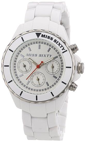 Miss Sixty R0751105501 - Reloj analógico de cuarzo para mujer con correa de resina, color blanco: Amazon.es: Relojes
