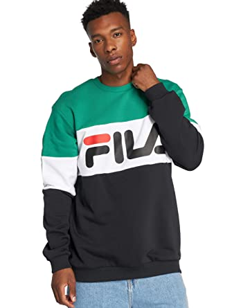 Fila Sweatshirt Herren Urban Line Sweatshirt Straight Blocked Crew 681255  I82 Black Bright White Shady Glade