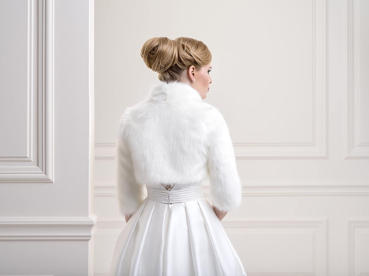 Ladies Fox Faux Fur Bridal Wedding Jacket Bolero FFJ-57 at Amazon Womens Clothing store:
