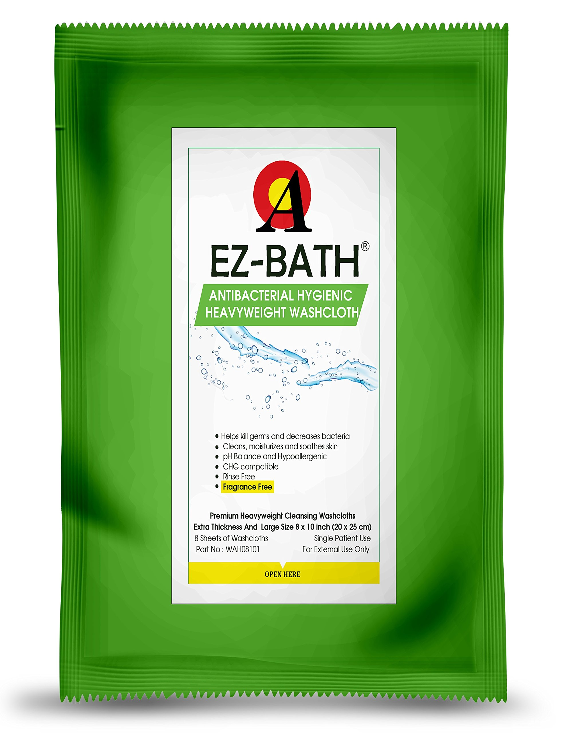Antibacterial & Heavyweight Cleansing Cloths, Unscented (8 Sheets-14 Packs) by EZ-BATH