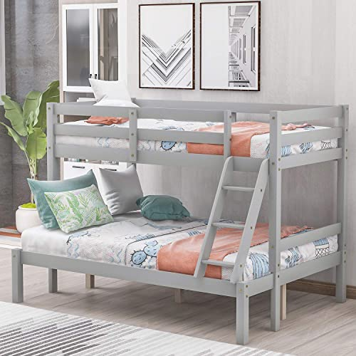 P PURLOVE Twin Over Full Bunk Bed Bunk Bed Frame