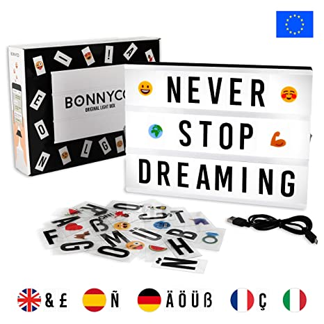 Caja de Luz LED A4 con 105 Letras, 60 Divertidos Emojis y USB | Ñ y Ç Incluidas | Light Box Ideal para Decoración Vintage en Hogar, Habitación, Boda | ...