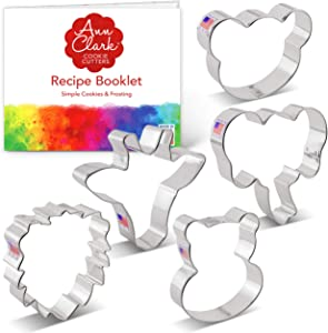 Ann Clark Cookie Cutters 5 Piece Zoo Faces Cookie Cutter Set with Recipe Booklet, Giraffe Face, Lion Face, Hippo Face, Elephant Face, Bear Face