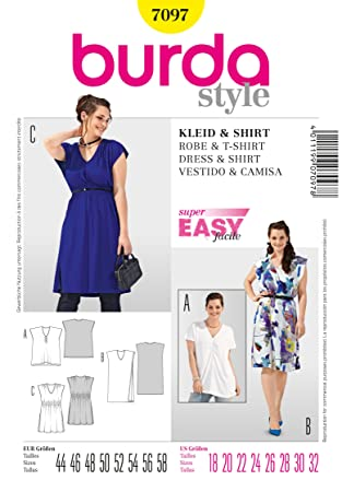 Burda Schnittmuster Kleid/Shirt mit V-Ausschnitt: Amazon.de: Küche ...