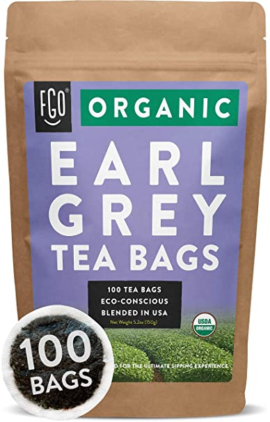 Organic Earl Grey Black Tea Bags | 100 Tea Bags | Chinese Keemun, Indian Assam & Italian Bergamot Blend | Eco-Conscious Tea Bags in Foil Lined Kraft Pouch | by FGO