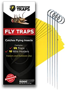 Powerhouse Traps Double Sided Yellow Sticky Fly Traps, 25 Pieces with 10 Wire Holders, Indoor Plants and Outdoor use, Flying Insect Mosquitos Gnat Fruit Fly Catcher, Disposable, Extra Strength