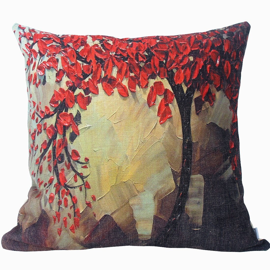 Oil Painting Cotton Linen Throw Pillow Cover Red Flower Black Tree Decorative Cushion