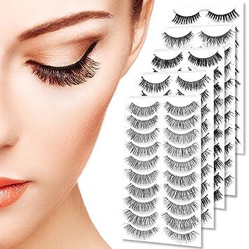 9e03545f63c Goldrose 50 Pairs Premium Quality Handmade False Eyelashes Black Long &  Natural Fashion Soft Reusable Fake
