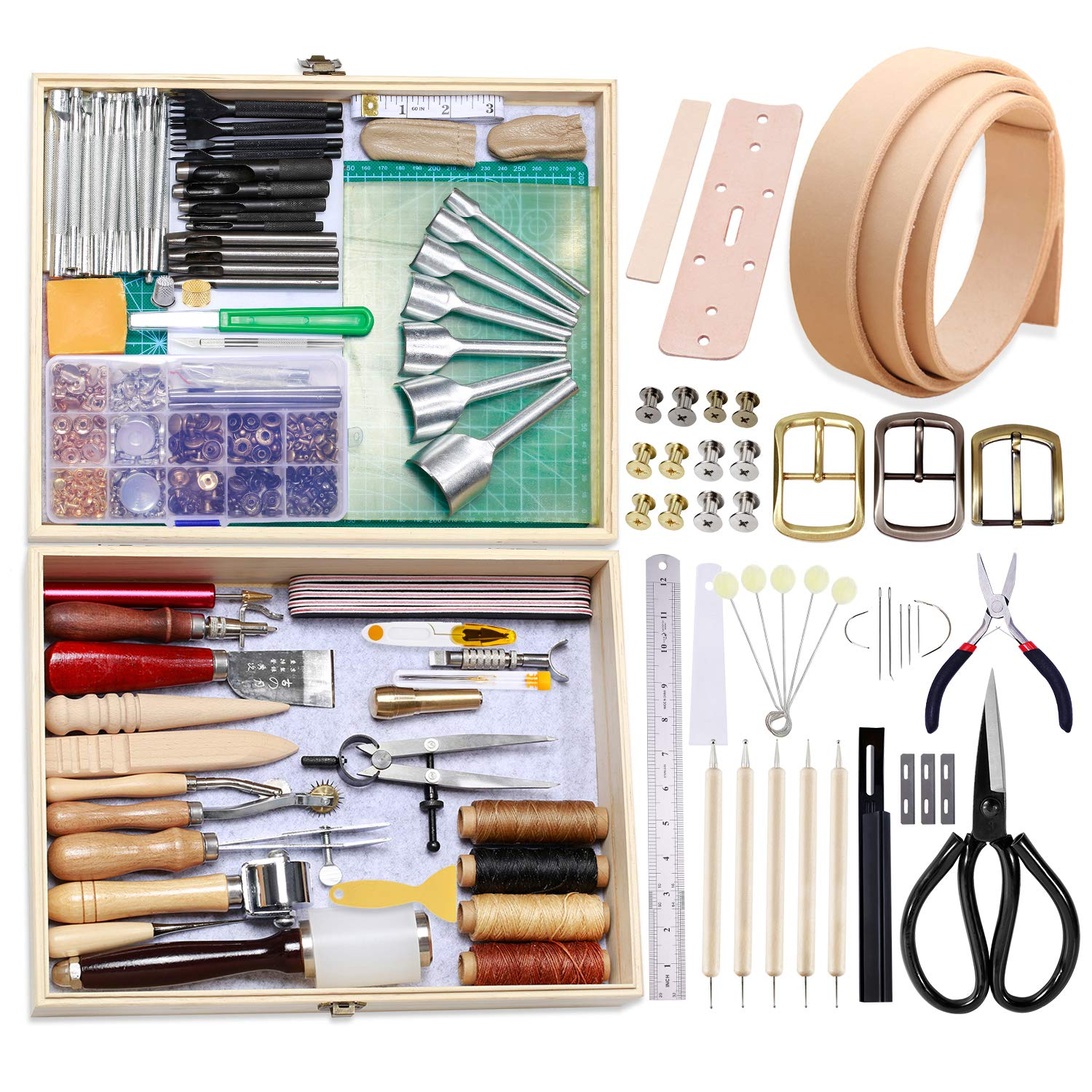 BUTUZE 489Pcs Leather Working Tools Kit with Instructions,Leather Sewing Tools Kit Leather Working Supplies with Leather Craft Stamping Tools,Gift for Hand Sewing DIY Leathercraft Carving