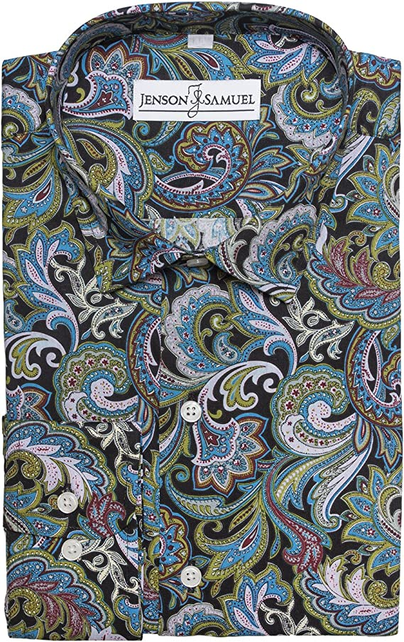 Da UOMO GRIGIO BIANCO NERO ITALIANO BUTON Camicia Paisley Stampa Floreale 100/% COTONE SLIM