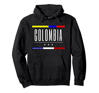 Unisex Colombia USA flag friendship born family hoodie gift 2XL Black