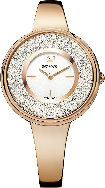 Swarovski Reloj Crystalline Pure, PVD en tono oro rosa, brazalete de metal, para mujer
