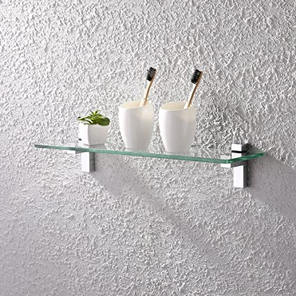 KES Tempered Glass Shelf, Bathroom Shelf With 19.6 Inch Rectangular Glass  (8mm Thick)