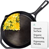 GreaterGoods Cast Iron Skillet 10 Inch, Smooth Non-Stick Nine Inch Cooking Surface, Pre-Seasoned handmade cast iron with…