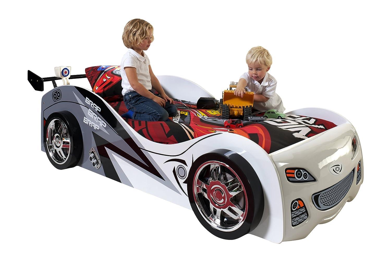 VIPACK SCBB200W Autobett Brap Brap, circa 229 x 65 x 110 cm, Liegefläche 90 x 200 cm, lackiert aufgedruckte Rennwagen-Optik, weiß