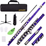 ammoon Closed Hole C Flute 16 Keys Cupronickel Nickel-plated Wind Instrument with Carry Case Flute Stand Gloves Cleaning…