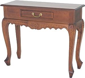"NES Furniture NES Fine Handcrafted Furniture Solid Mahogany Wood Empressa Side Table - 35"", Light Pecan"