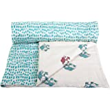 Mom's Home Organic Cotton Super Soft Early Winters Baby Quilt Blanket Cum Bedspread - 0-3 Years - 110 * 120 Cms - Motu Elephant