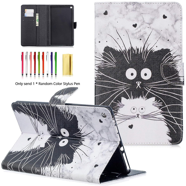 LittleMax Fire HD 10ケース カラフルな合成皮革 キックスタンド ソフトジェル 保護カバー 自動ウェイク/スリープ機能付き Amazon Kindle Fire HD 10.1インチ 第7世代 第5世代 #  #6 Black White Cat B07LD1JCCM