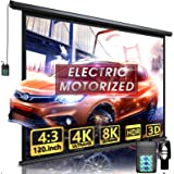 """Aoxun 120"""" Motorized Projector Screen - Indoor and Outdoor Movies Screen 120 inch Electric 4:3 Projector Screen W/Remote Cont"""